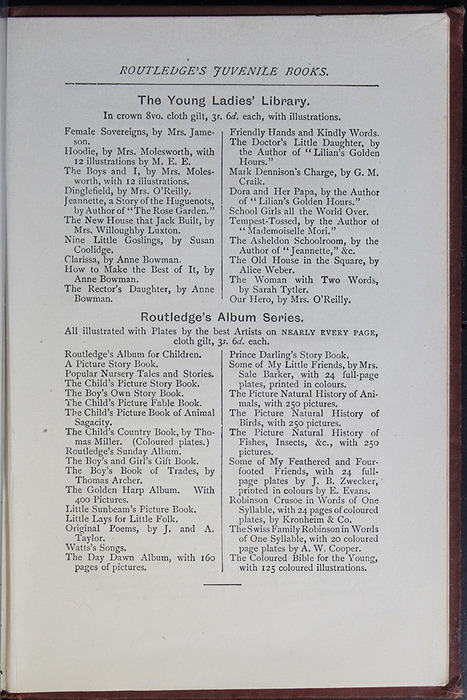 "Seventh Page of Back Advertisements in the [1885] George Routledge & Co. ""Ruby Series"" Reprint"