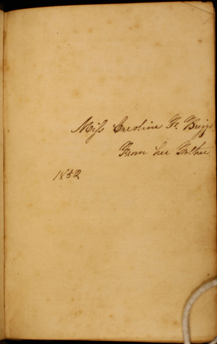 Recto of Front Flyleaf with Inscription of Volume 2 of the 1852 George P. Putnam 16th Edition, Version 1