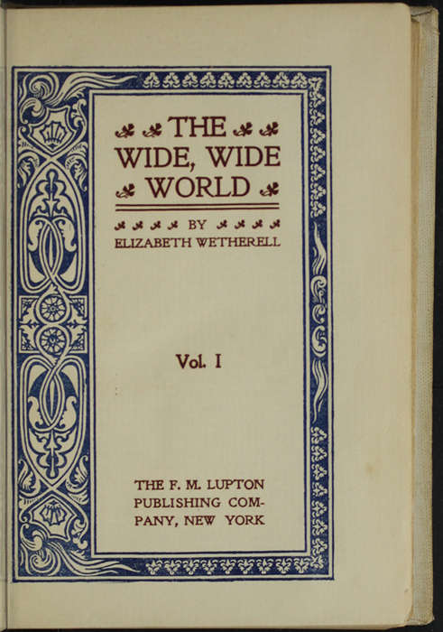Title Page to Volume Two the [1898] F. M. Lupton Publishing Co. Reprint