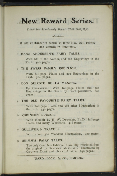"First Page of Advertisements to the [1904] Ward, Lock, & Co., Ltd. ""Complete Edition"" Reprint"