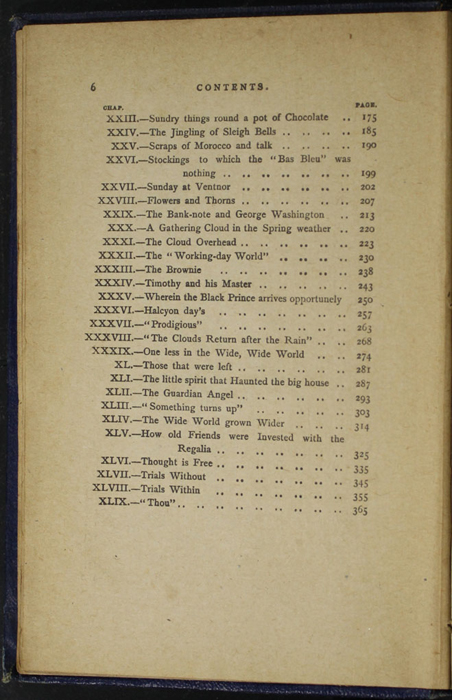 Second Page of the Table of Contents for the [1887] W. Nicholson & Sons, Ltd. Reprint