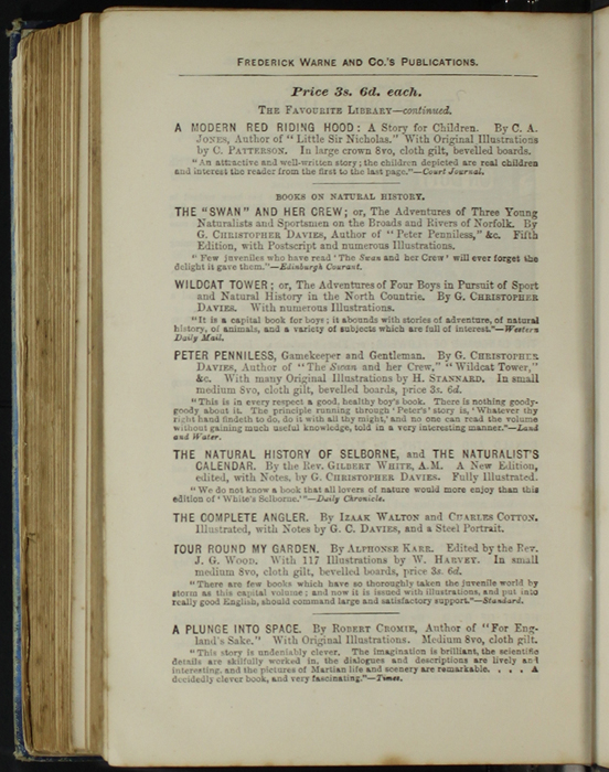 Fourth Page of Back Advertisements in [1890] Frederick Warne & Co. Reprint