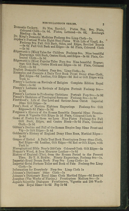 Third Page of Back Advertisements in the [1879] Milner & Sowerby Reprint