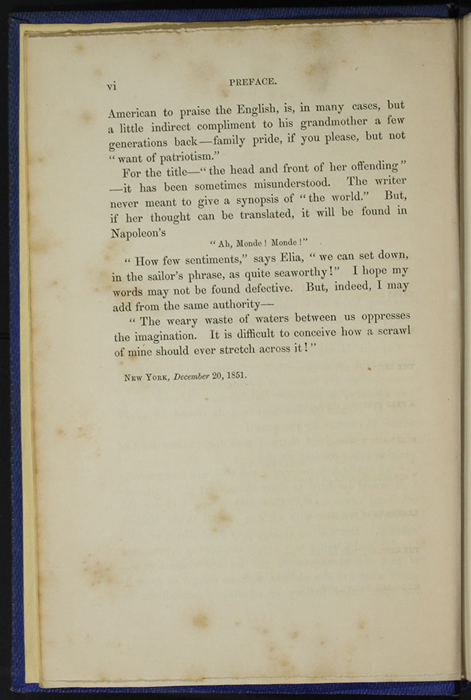 "Page vi of the Preface to Volume 1 of the 1852 James Nisbet, Sampson Low, Hamilton, Adams & Co. ""Second Edition"" Reprint"