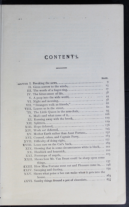 First Page of the Table of Contents for the [1899] Geo. M. Hill Co. Reprint