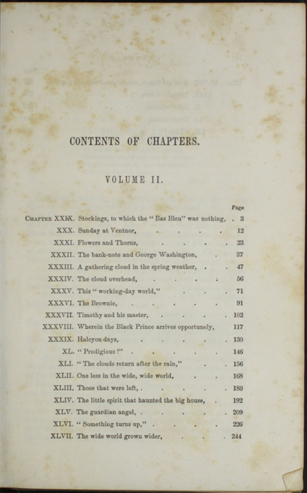 First Page of the Table of Contents for Volume 2 of the 1851 George P. Putnam First Edition, Version 3