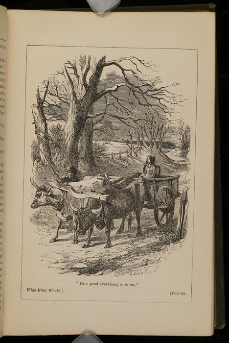 """Illustration on Page 96a of the [1885] Ward, Lock & Co. """"Home Treasure Library, Complete Edition"""" Reprint Depicting Ellen in the Ox Cart"""
