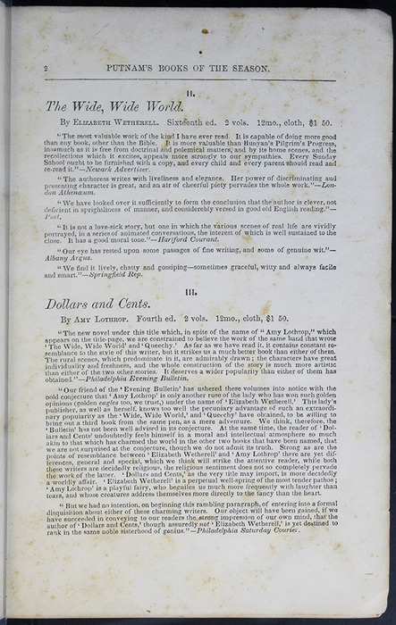 Second Page of Front Advertisements in Volume 2 of the 1852 George P. Putnam 16th Edition, Version 2