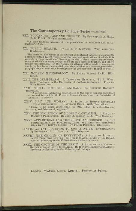 "Fifteenth Page of Back Advertisements in the [1893] Walter Scott, Ltd. ""Emerald Library"" Reprint"