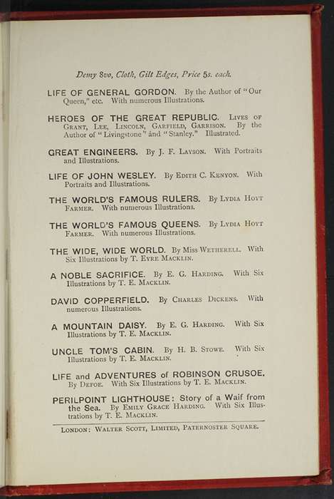 First Page of Back Advertisements in the [1896] Walter Scott, Ltd. Reprint