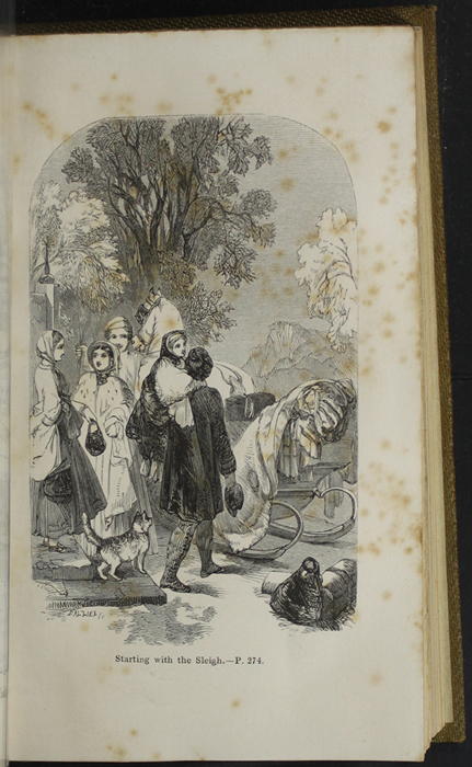 Illustration on Page 274a of the 1853 G. Routledge & Co. Reprint Depicting Ellen, Alice, and John Preparing for their Sleigh Ride to the Marshman's