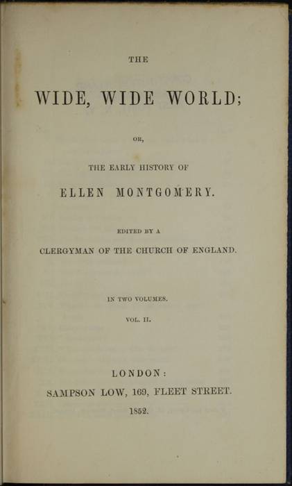 Title Page to Volume 2 of the 1852 Sampson Low Reprint
