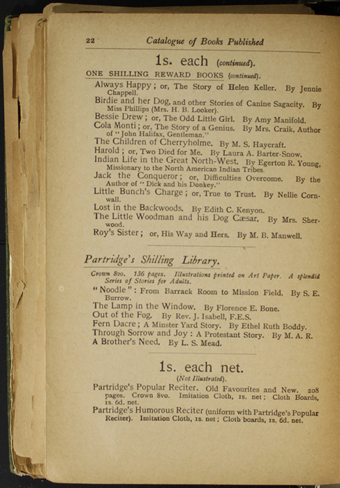 Twenty-Second Page of Back Advertisements in the [1904] S. W. Partridge & Co. Reprint