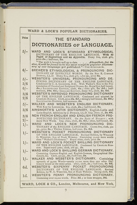 """Twelfth Page of Front Advertisements in the [1884] Ward, Lock & Co. """"Lily Series, Complete Edition"""" Reprint"""
