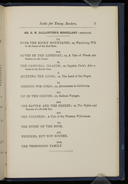"Seventh Page of Back Advertisements in 1886 James Nisbet & Co. ""New ed. Golden Ladder Series"" Reprint"