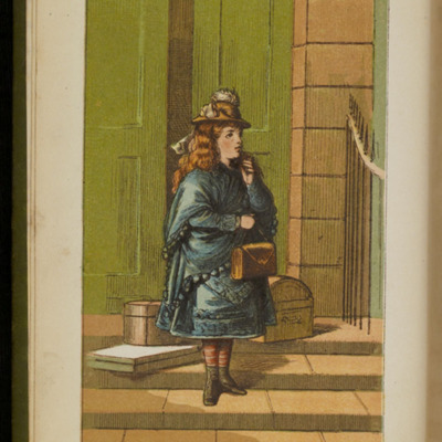"Four-Color Plate Frontispiece to the [1885] Ward, Lock & Co. ""Home Treasure Library, Complete Edition"" Reprint, Depicting Ellen Arriving in Thirlwall"