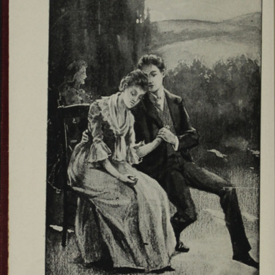 "Frontispiece to the [1898] A. L. Burt Co. ""The Home Library"" Reprint, Depicting Alice Telling John of Her Illness"