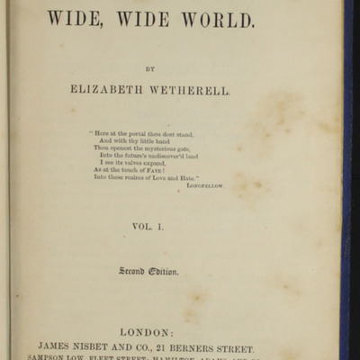 """Title Page to Volume 1 of the 1852 James Nisbet, Sampson Low, Hamilton, Adams & Co. """"Second Edition"""" Reprint"""