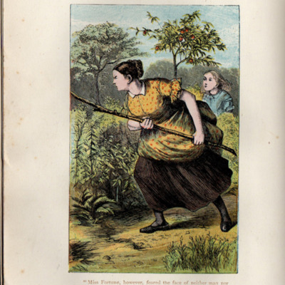 Illustration on Page 388b of the [1899] George Routledge & Sons, Ltd. Reprint, Depicting Aunt Fortune Chasing Timothy the Bull