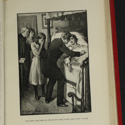 "Illustration on Page 368b of the [1896] Walter Scott, Ltd. ""Complete Edition"" Reprint, Depicting Ellen, Margery, and the Humphreys Grieving at Alice's Deathbed"