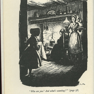 Frontispiece to the [1950] University of London Press, Ltd. Abridged Reprint, Depicting Ellen Arriving at Aunt Fortune's Farm