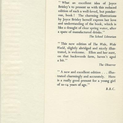 Back Flap Dust Jacket of the [1950] University of London Press, Ltd. Abridged Reprint