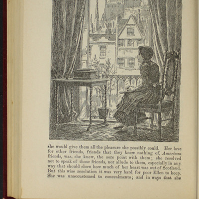 "Illustration on Page 528 of the 1903 J.B. Lippincott Co. ""New Edition"" Reprint, Depicting Ellen Missing those at Home While in Scotland"