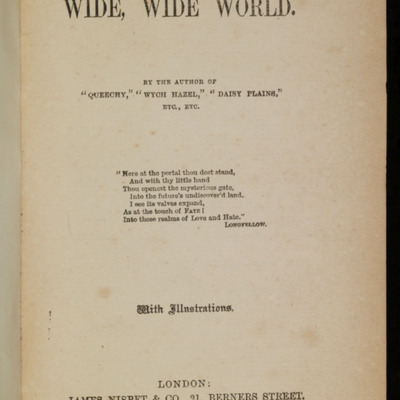 Title Page to the [1896] James Nisbet & Co. Reprint