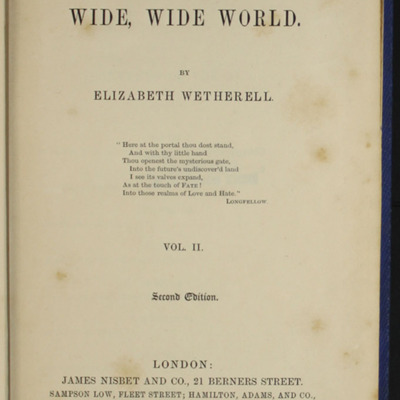 "Title Page to Volume Two of the 1852 James Nisbet, Sampson Low, Hamilton, Adams & Co. ""Second Edition"" Reprint"