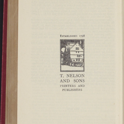 Colophon for the [1922] T. Nelson & Sons, Ltd., Reprint